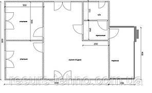 Будинок 6м х 8м з терасою 4м х 2м