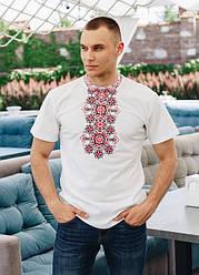 """Чоловіча футболка - вишиванка """"Захар"""", тканина трикотаж, розміри 42,44,46,48,50,52,54,56 біла з червоним"""