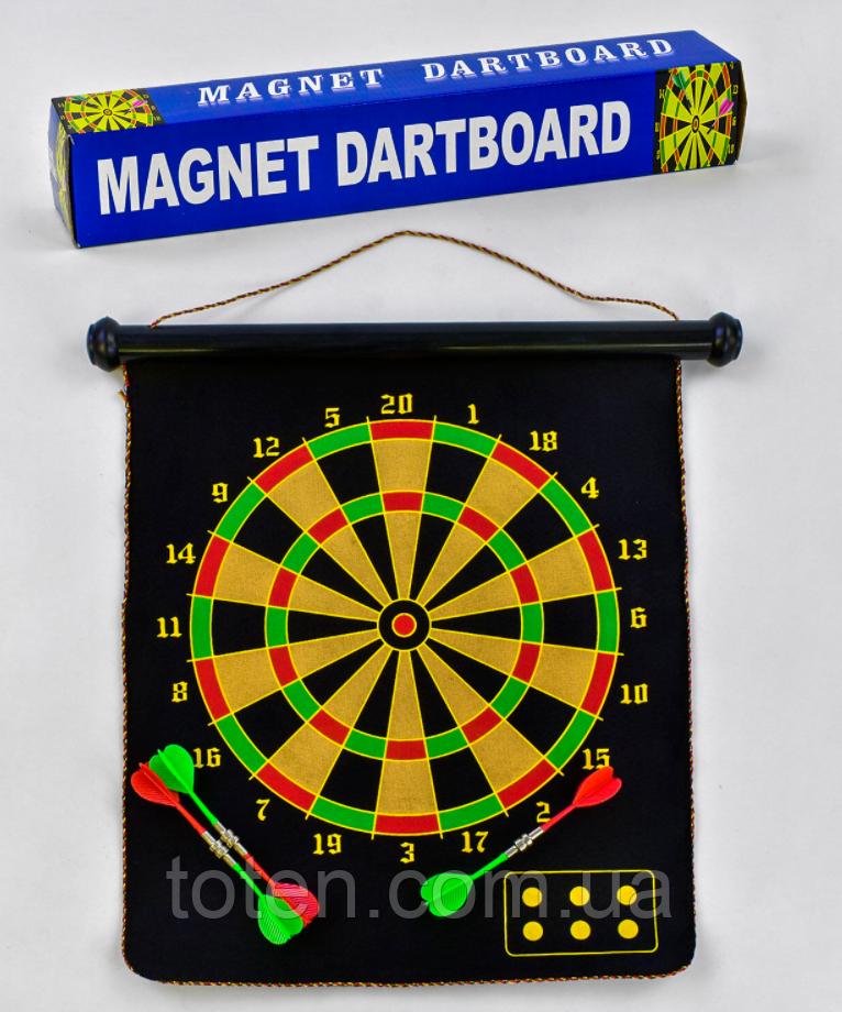 """Дартс магнитный в коробке С 33999   размер 17"""" 4 дротика на магнитах"""