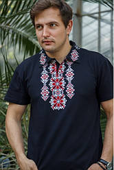 """Чоловіча футболка - вишиванка """"Руслан"""", тканина трикотаж, розміри 42,44,46,48,50,52,54 синя з червоним"""