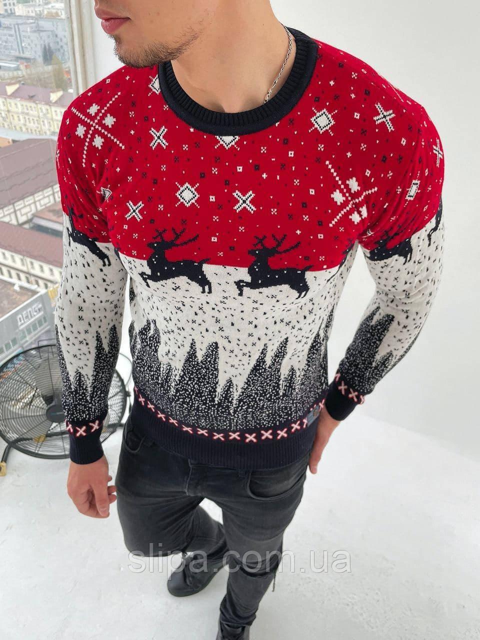 Мужской свитер с оленями красный с белым