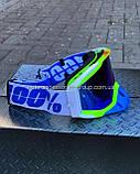 Очки кроссовые '100%' (бело-салатовые, стекло хамелеон, синий нос(сьемный), ремешок белый с синей надписью), фото 2