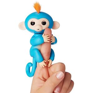 Интерактивная обезьянка на палец fingerlings happy monkey умная детская игрушка Синий