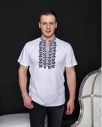 """Чоловіча футболка - вишиванка """"Ярило"""", тканина трикотаж, розміри 44,52,54 біла"""