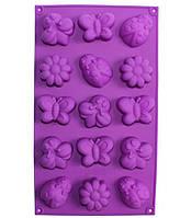 """Форма силиконовая Hauser """"Лужок"""" для выпечки печенья и маффинов 15 ячеек HH-606 Силиконовые формы"""
