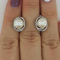 Серебряные серьги с жемчугом, фото 1