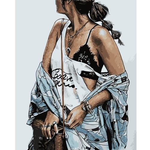 """Картина по номерам """"Стильная девушка 2"""", размер 40*50 см, VA-0738"""