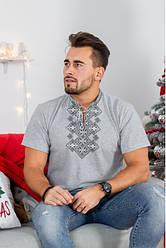 """Чоловіча футболка - вишиванка """"Бажан"""", тканина трикотаж, розміри 44,46,48,50,52,54,56 сіра з чорним"""