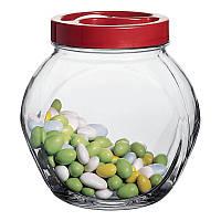 Стеклянные банки емкость для продуктов сахара круп чая с закручивающейся крышкой Bella 1500мл Неваляшка