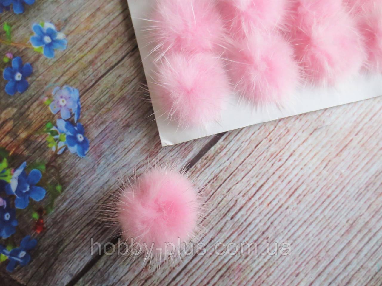 Помпоны меховые, d 25 мм, цвет розовый, 1 шт