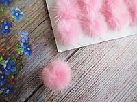 Помпоны меховые, d 25 мм, цвет розовый, 1 шт, фото 1