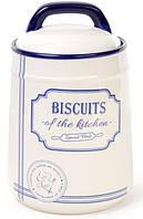 Банка керамическая Red&Blue BISCUITS 1250мл, для печенья, синяя