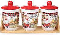 Набор банок емкостей для сыпучих продуктов банки круп сахара 3 банки Шеф-повар 500мл на деревянной подставке