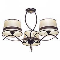 Люстра 3 ламповая для спальни, прихожей, кухни ковка с абажурами 14703-1