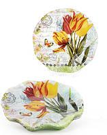 Набор 6 стеклянных тарелок Букет тюльпанов Ø20см, десертные тарелки