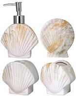 Набор аксессуаров для ванной комнаты керамические Ракушка 4 предмета ST-888-06-024