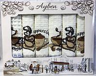Набор 6 кухонных полотенец Ayben M4813 45х70см вафельные SA-4813