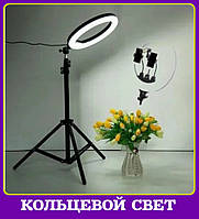 Кольцевая led лампа на штативе 2 м с 3-мя держ-ми Светодиодная лед лампа блогера Лед лампа фотографа