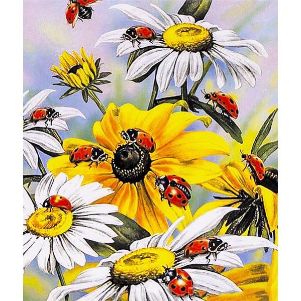 Картина по номерам 40х50 см DIY Божьи коровки на цветах (FX 30739)