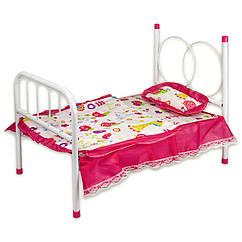 Кроватка металл 881-1 подушка, простынь, одеяло 47*28*35см