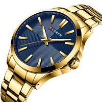Мужские наручные часы противоударные Curren 8322 Gold-Blue