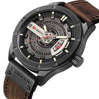 Мужские наручные часы противоударные Curren 8301 Black-Dark Brown