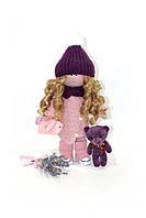 Текстильная кукла ручной работы с сумочкой и букетом лаванды--