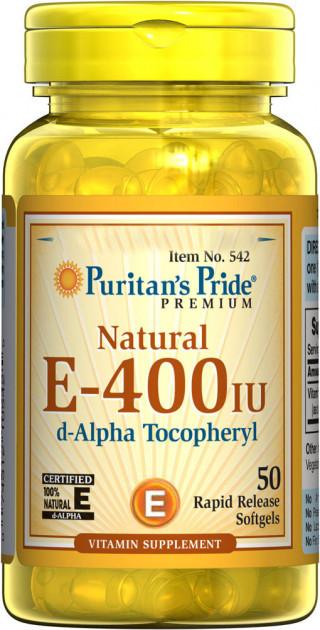 Puritan's Pride Vitamin E-400 IU, Витамин Е, 268 мг (50 капс.)