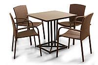 """Комплект мебели для летних кафе """"Тетра Люкс"""" стол (80*80) + 4 стула Венге"""