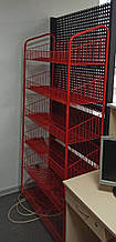 Сетчатый стеллаж К-90 красного цвета