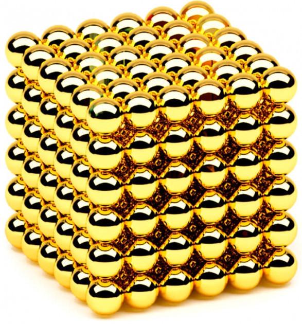 Магнітний конструктор Неокуб іграшка антистрес в боксі 216 магнітних кульок 5 мм Золотий