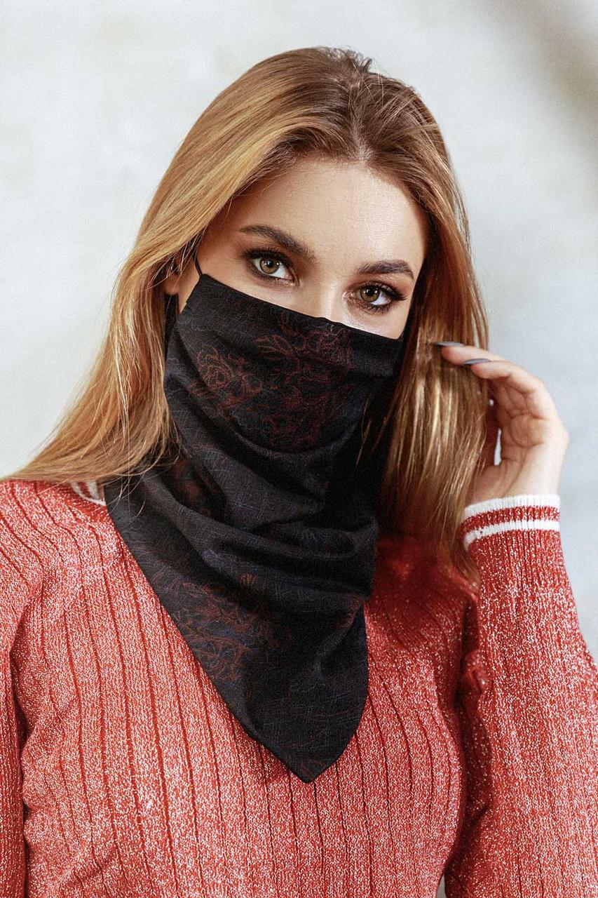 Шарф-маска двостороння чорна з червоними квітами