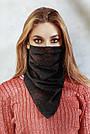 Шарф-маска двостороння чорна з червоними квітами, фото 3