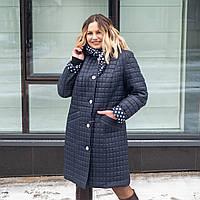 Удлиненная куртка женская демисезонная большого размера 50-60 темно синий
