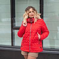 Женская весенняя куртка большого размера 50-60 красный