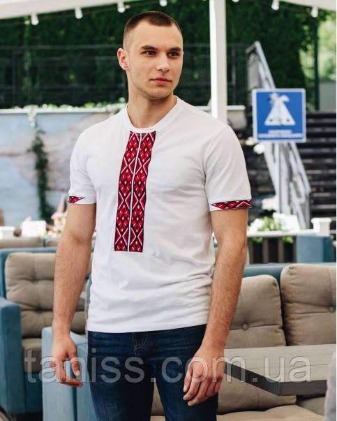 """Мужская футболка - вышиванка """"Фаворит"""", ткань трикотаж, размеры 42,44,46,48,50,52,54 біла з черв"""