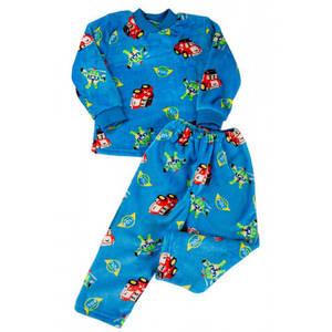 Теплая детская пижама для мальчиков Kika Toys Робокар поли 98 см Голубая (kj3027-1)