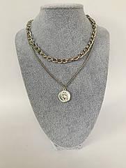 Двойная женская цепочка на шею, колье серебряного цвета с кулоном монеткой