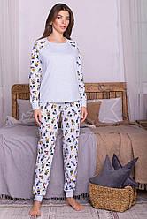 Женская пижама с длинным рукавом и штанами хлопок голубая Амаль