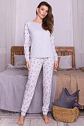 Теплая женская пижама со штанами хлопок светло-серая Амаль