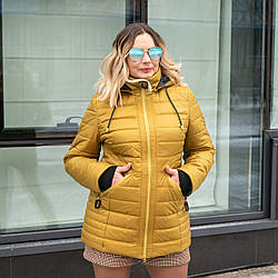 Куртки женские демисезонные украина  большого размера   50-60 горчица