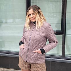 Женская весенняя куртка  больших размеров  50-60 темная лаванда