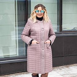 Куртки батал женские весна-осень модные   50-60 темная пудра