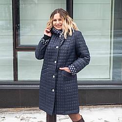 Куртки женские демисезонные большого размера удлиненные  50-60 темно синий