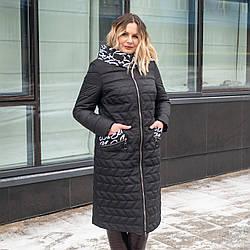Женская весенняя куртка больших размеров    50-60 черный