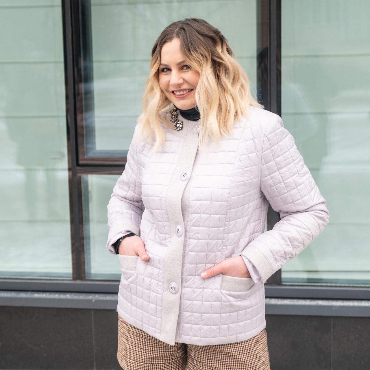 Жіноча демісезонна куртка великих розмірів 50-60 перли