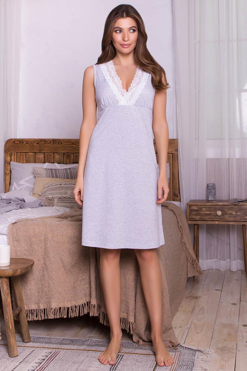 Женская серая ночная рубашка из хлопка
