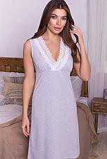 Женская серая ночная рубашка из хлопка, фото 2