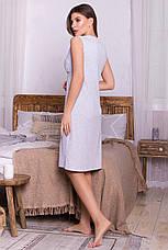 Женская серая ночная рубашка из хлопка, фото 3