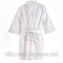 Вафельний халат Luxyart Кімоно, дитячий розмір, білий (LS-0370)